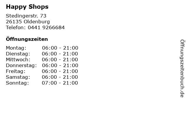 Happy Shops in Oldenburg: Adresse und Öffnungszeiten