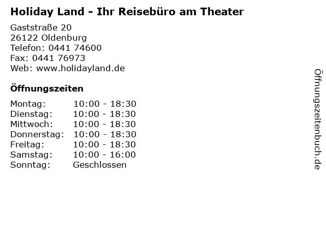 Holiday Land - Ihr Reisebüro am Theater in Oldenburg: Adresse und Öffnungszeiten