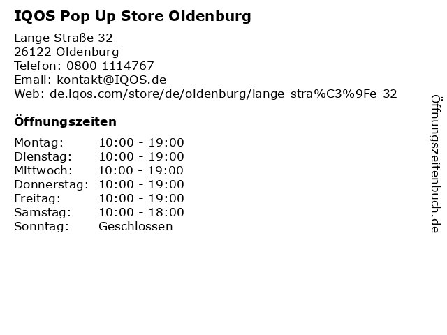 IQOS Pop Up Store Oldenburg in Oldenburg: Adresse und Öffnungszeiten