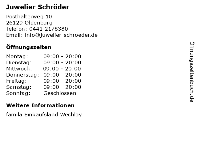 Juwelier Schröder in Oldenburg: Adresse und Öffnungszeiten