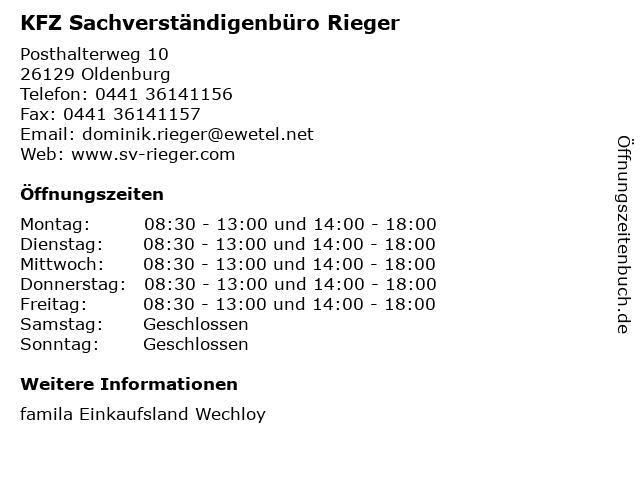 KFZ Sachverständigenbüro Rieger in Oldenburg: Adresse und Öffnungszeiten