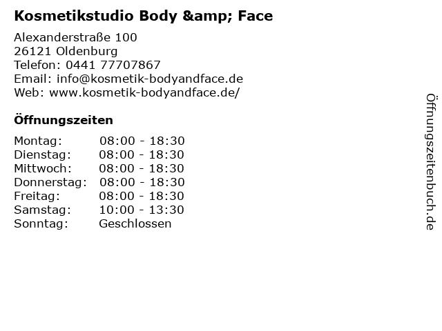 Kosmetikstudio Body & Face in Oldenburg: Adresse und Öffnungszeiten