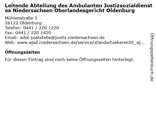 Leitende Abteilung des Ambulanten Justizsozialdienstes Niedersachsen Oberlandesgericht Oldenburg in Oldenburg: Adresse und Öffnungszeiten