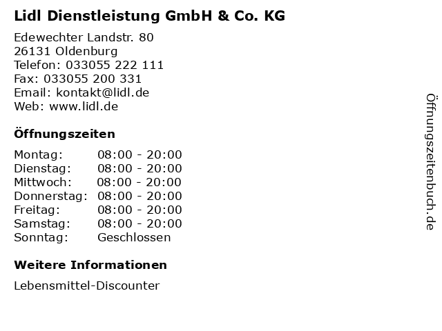 Lidl in Oldenburg: Adresse und Öffnungszeiten