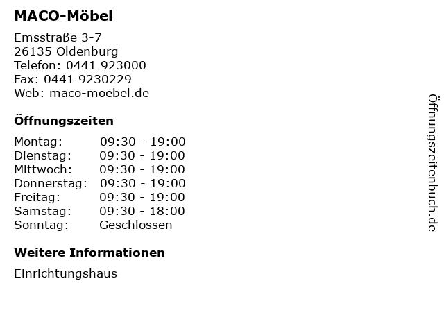ᐅ öffnungszeiten Maco Möbel Emsstraße 3 7 In Oldenburg