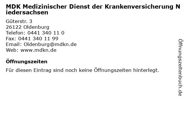 MDK Medizinischer Dienst der Krankenversicherung Niedersachsen in Oldenburg: Adresse und Öffnungszeiten