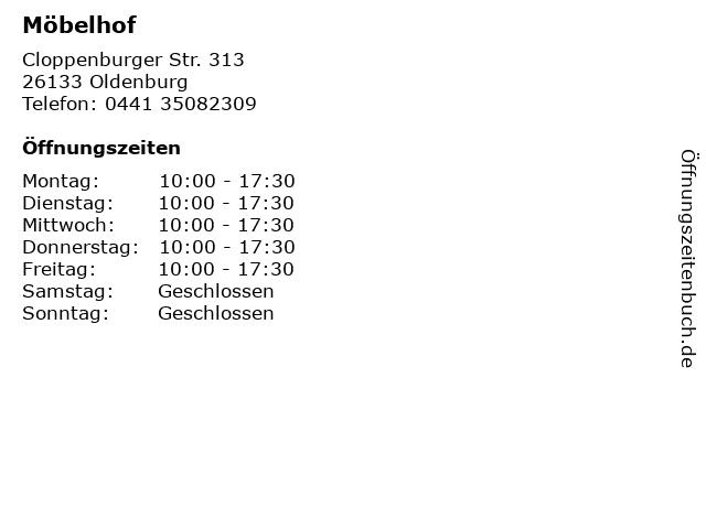 Möbelhof in Oldenburg: Adresse und Öffnungszeiten