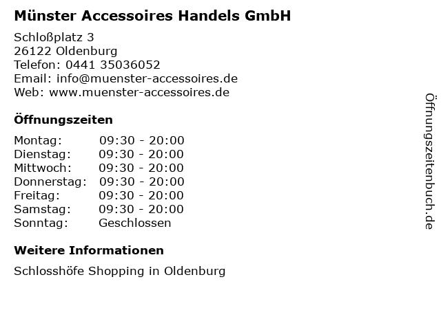 Münster Accessoires Handels GmbH in Oldenburg: Adresse und Öffnungszeiten