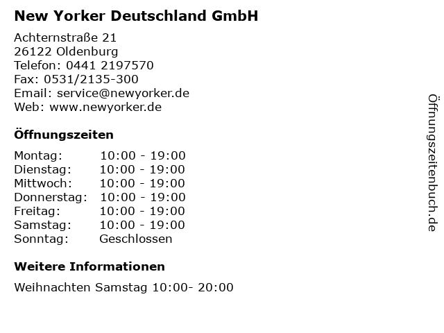 New Yorker Deutschland GmbH in Oldenburg: Adresse und Öffnungszeiten
