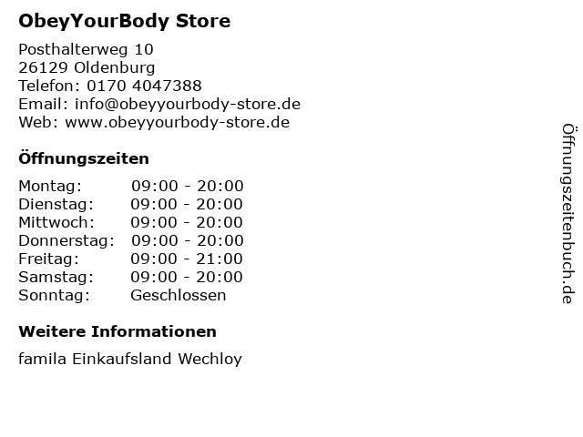 ObeyYourBody Store in Oldenburg: Adresse und Öffnungszeiten