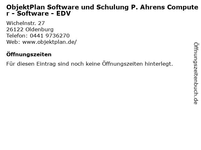 ObjektPlan Software und Schulung P. Ahrens Computer - Software - EDV in Oldenburg: Adresse und Öffnungszeiten