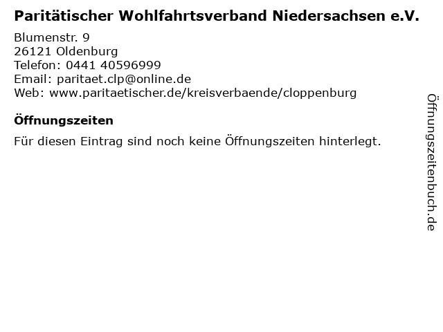 Paritätischer Wohlfahrtsverband Niedersachsen e.V. in Oldenburg: Adresse und Öffnungszeiten