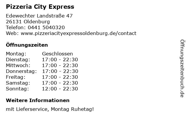 Pizzeria City Express in Oldenburg: Adresse und Öffnungszeiten