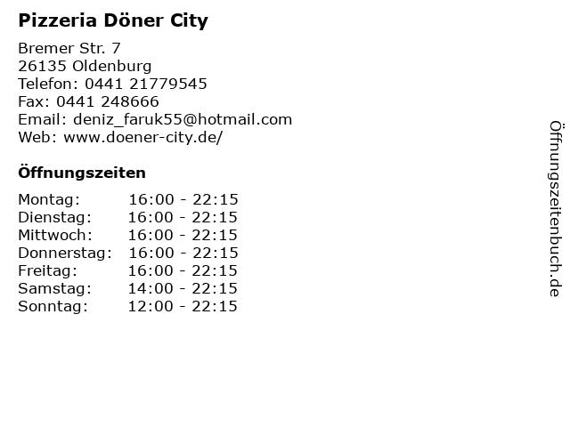 Pizzeria Döner City in Oldenburg: Adresse und Öffnungszeiten