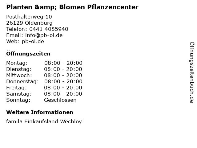 Planten & Blomen Pflanzencenter in Oldenburg: Adresse und Öffnungszeiten