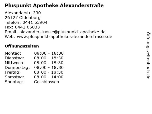 Pluspunkt Apotheke Alexanderstraße in Oldenburg: Adresse und Öffnungszeiten