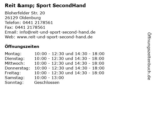 Reit & Sport SecondHand in Oldenburg: Adresse und Öffnungszeiten