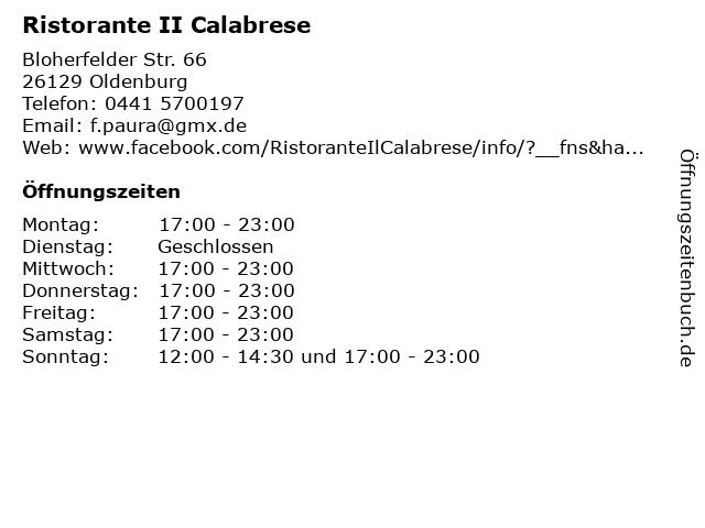 Ristorante II Calabrese in Oldenburg: Adresse und Öffnungszeiten