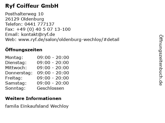 Ryf Coiffeur GmbH in Oldenburg: Adresse und Öffnungszeiten