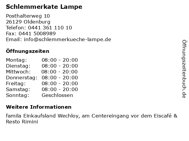 Schlemmerkate Lampe in Oldenburg: Adresse und Öffnungszeiten