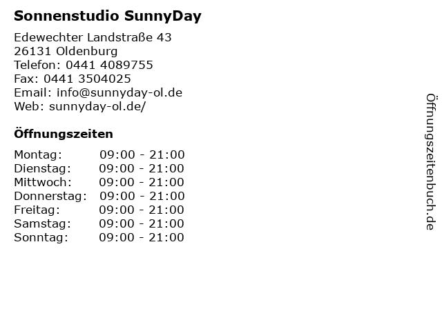 Sonnenstudio SunnyDay in Oldenburg: Adresse und Öffnungszeiten