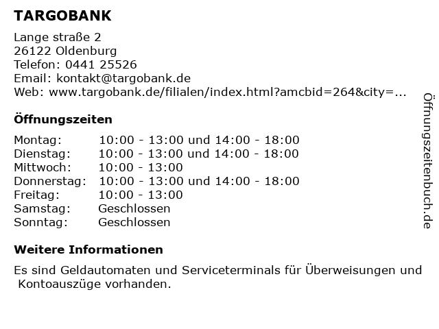 TARGOBANK in Oldenburg: Adresse und Öffnungszeiten