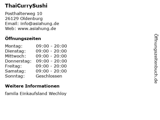 ThaiCurrySushi in Oldenburg: Adresse und Öffnungszeiten