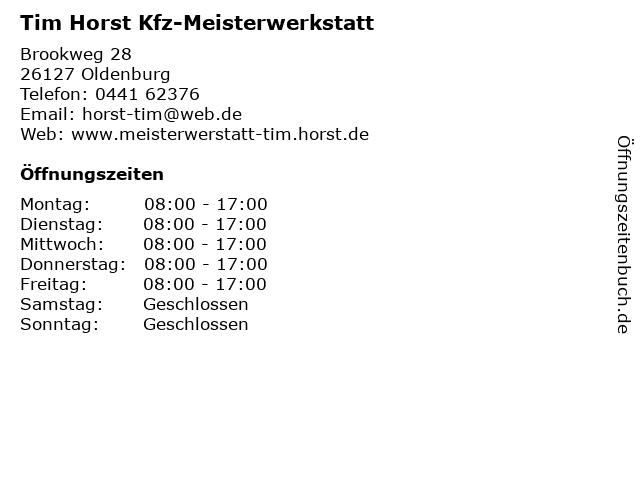 Tim Horst Kfz-Meisterwerkstatt in Oldenburg: Adresse und Öffnungszeiten