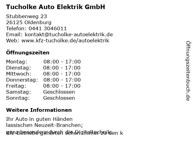 Tucholke Auto Elektrik GmbH in Oldenburg: Adresse und Öffnungszeiten