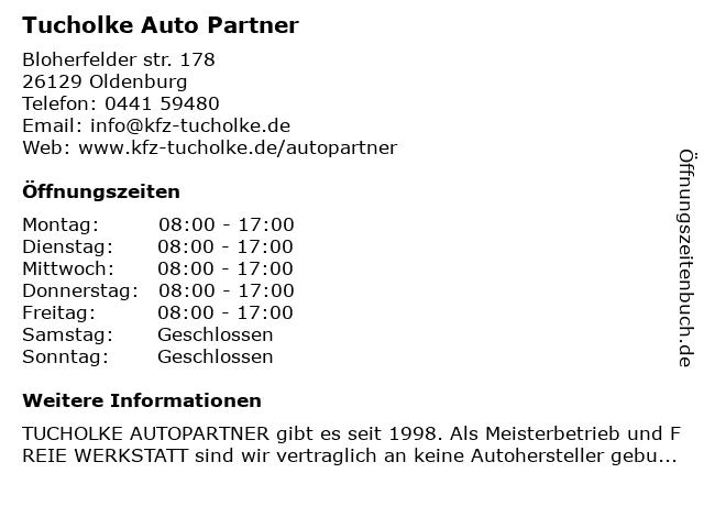 Tucholke Auto Partner in Oldenburg: Adresse und Öffnungszeiten