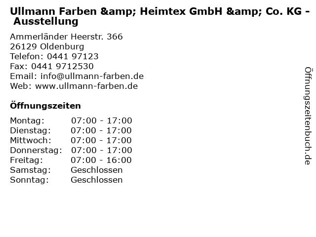 Ullmann Farben & Heimtex GmbH & Co. KG - Ausstellung in Oldenburg: Adresse und Öffnungszeiten