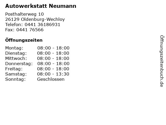 Autowerkstatt Neumann in Oldenburg-Wechloy: Adresse und Öffnungszeiten