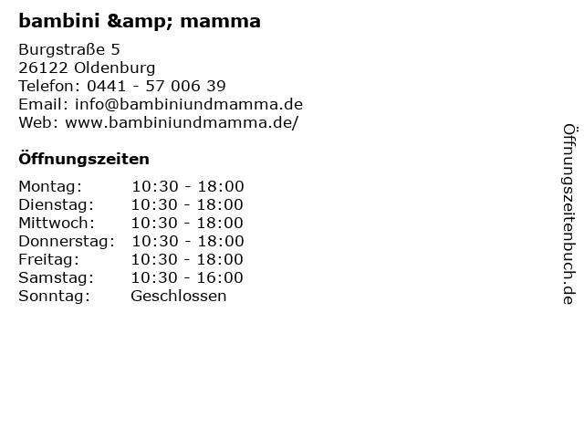 bambini & mamma in Oldenburg: Adresse und Öffnungszeiten