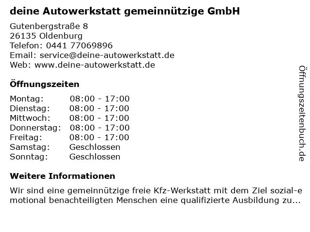 deine Autowerkstatt gemeinnützige GmbH in Oldenburg: Adresse und Öffnungszeiten