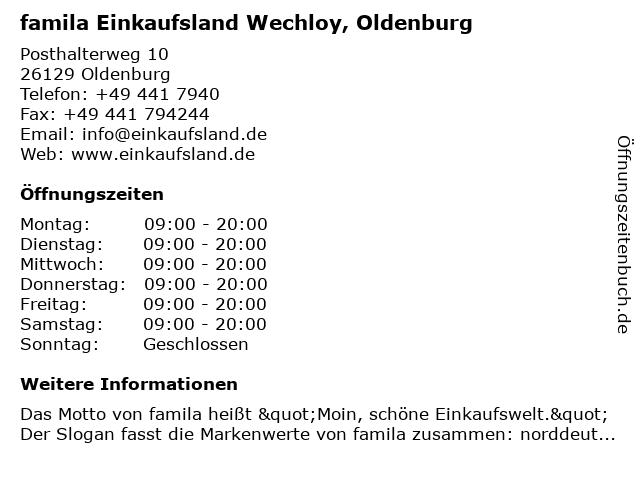 famila Einkaufsland Wechloy, Oldenburg in Oldenburg: Adresse und Öffnungszeiten