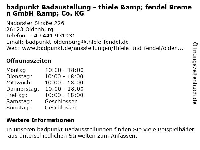 thiele &fendel - Ausstellung in Oldenburg: Adresse und Öffnungszeiten