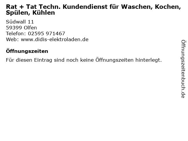 Rat + Tat Techn. Kundendienst für Waschen, Kochen, Spülen, Kühlen in Olfen: Adresse und Öffnungszeiten