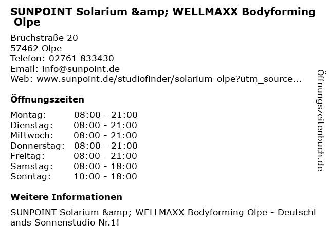 SUNPOINT Solarium & WELLMAXX Bodyforming Olpe in Olpe: Adresse und Öffnungszeiten
