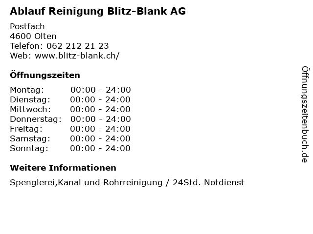 Ablauf Reinigung Blitz-Blank AG in Olten: Adresse und Öffnungszeiten
