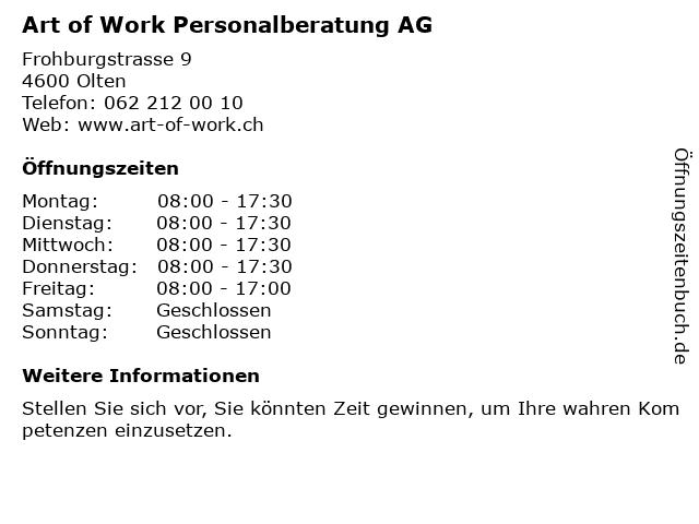 Art of Work Personalberatung AG in Olten: Adresse und Öffnungszeiten