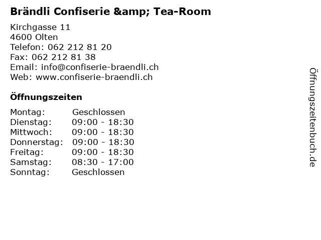 Brändli Confiserie & Tea-Room in Olten: Adresse und Öffnungszeiten