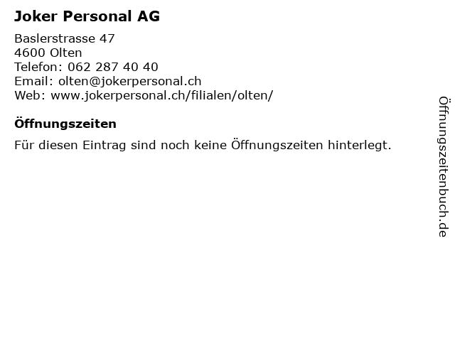 Joker Personal AG in Olten: Adresse und Öffnungszeiten