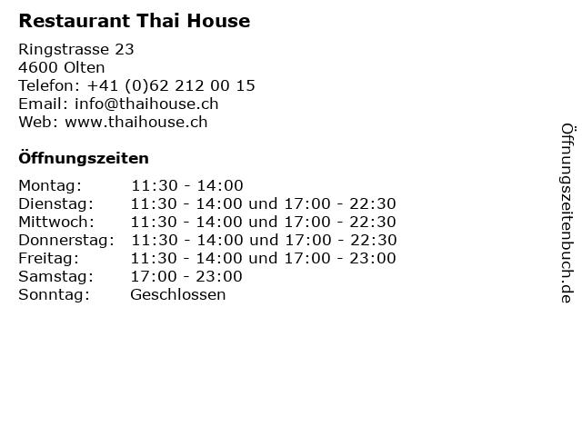 Restaurant Thai House in Olten: Adresse und Öffnungszeiten