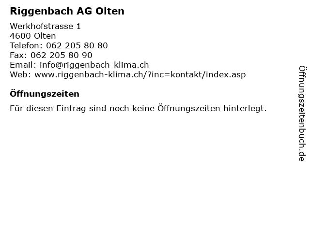 Riggenbach AG Olten in Olten: Adresse und Öffnungszeiten
