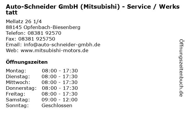 Auto-Schneider GmbH (Mitsubishi) - Service / Werkstatt in Opfenbach-Biesenberg: Adresse und Öffnungszeiten