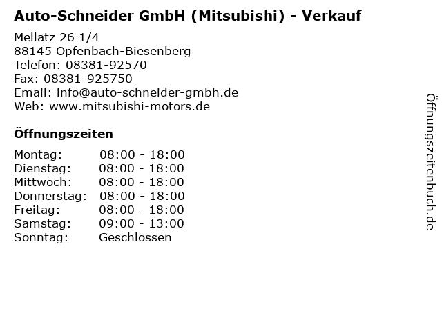 Auto-Schneider GmbH (Mitsubishi) - Verkauf in Opfenbach-Biesenberg: Adresse und Öffnungszeiten