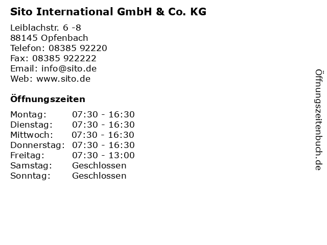 Sito International GmbH & Co. KG in Opfenbach: Adresse und Öffnungszeiten
