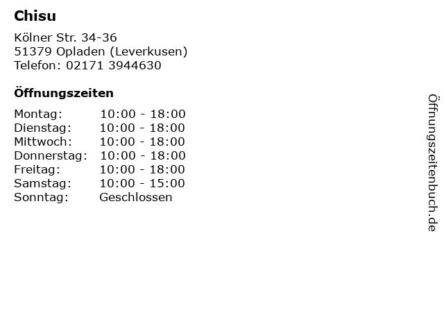 Chisu in Opladen (Leverkusen): Adresse und Öffnungszeiten