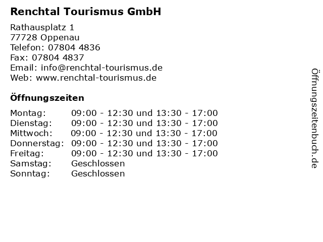 Renchtal Tourismus GmbH in Oppenau: Adresse und Öffnungszeiten