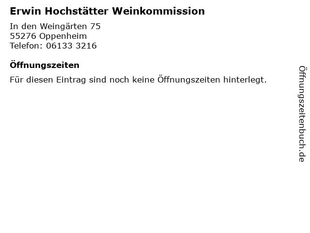 Erwin Hochstätter Weinkommission in Oppenheim: Adresse und Öffnungszeiten